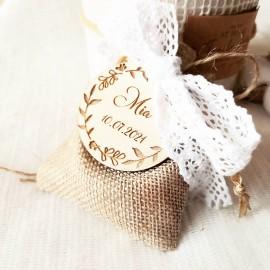 Étiquette dragées couronne florale