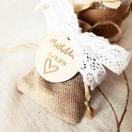 Étiquette dragées bois cœur gravé