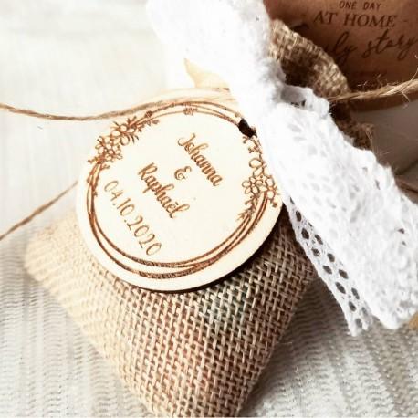 Étiquette dragées mariage couronne fleurs