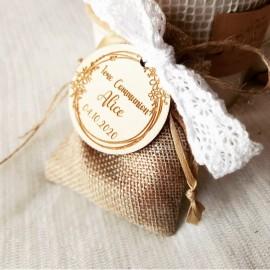 Étiquette dragées communion couronne fleurs
