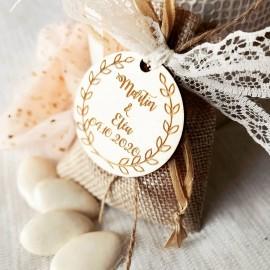 Étiquette dragées mariage ornement