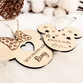 Boule de Noël minnie et mickey