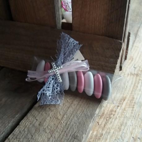 Dragées communion rose gris