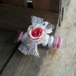 Boite dragées communion fleur rose