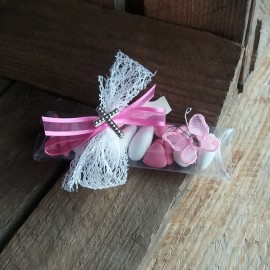 Boite à dragées papillon communion rose