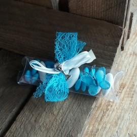Boite à dragées papillon communion bleu