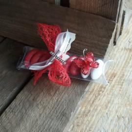 Boite à dragées communion papillon rouge