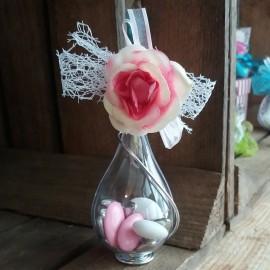 Goutte dragées mariage fleur rose
