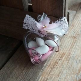 Dragées papillon cœur rose