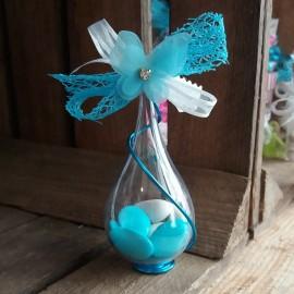 Dragées papillon goutte bleu turquoise